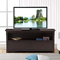 Yaheetech 44 Wood TV Stand Console Storage with 2 Doors Coffee