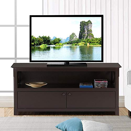 Yaheetech TV Stand X-Shape Wood Console Storage with Drawers 44.02'' x 15.75'' x 24.02'' - Coffee by Yaheetech