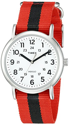 Timex Unisex TW2P68000 Weekender Red/Black Stripe Nylon Slip-Thru Strap Watch