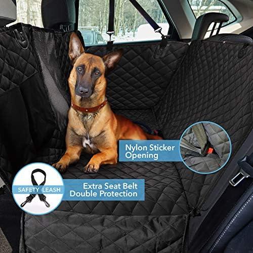 Funda protectora para asiento trasero de perro 900D con malla de visualización y bolsillo de almacenamiento, resiste agua y antiarañazos para protección del asiento trasero, para todo tipo de vehículo 8