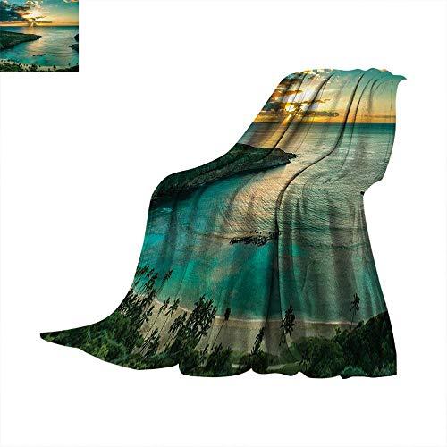 (Hawaiian Digital Printing Blanket Sunrise Over Hanauma Bay Oahu Hawaii Sunbeams Through Clouds Shoreline Summer Quilt Comforter 62