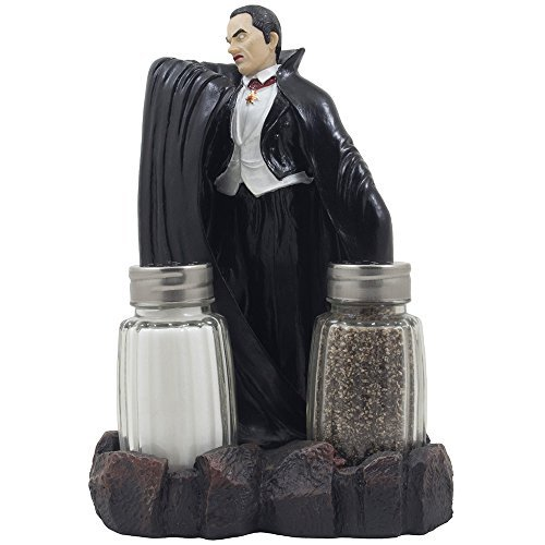 Spooky Count Dracula Vampire Salt and Pepper Shaker Set with Decorative Display Stand Holder Figurine for Horror Movie Theater Decor or Scary Halloween Decorations As Creepy Gothic Gifts]()