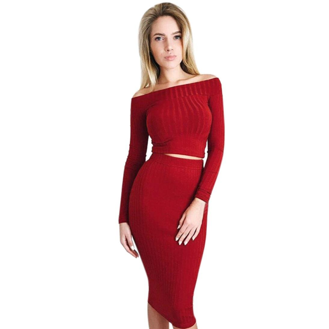 Sunward Womens Long Sleeve Off Shoulder Crop Top Midi Skirt Outfit Two Piece Bodycon Dress 5356