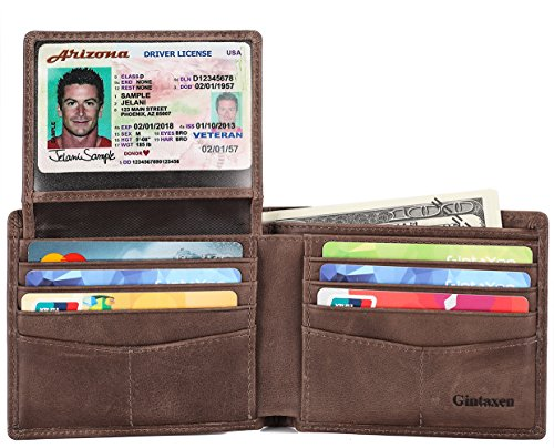 Mens Genuine Leather Bifold Wallet with 2 ID Window and RFID Blocking...