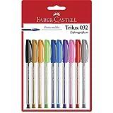 Caneta Esferográfica Colorida, Faber-Castell, Trilux Colors, SM/032ESC10, 10 Cores