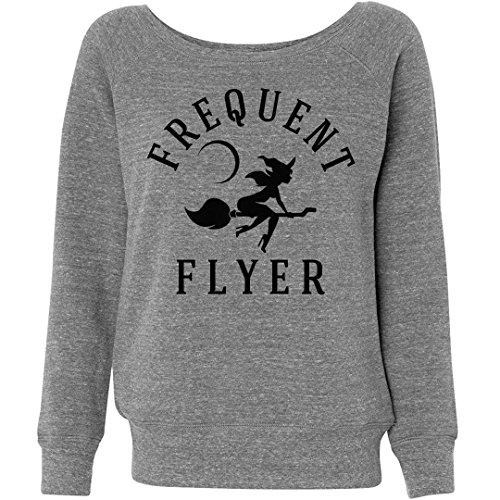 Customized Girl Halloween Frequent Flyer: Ladies Triblend Wideneck (Halloween Kids Sweatshirt)