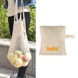 DimiDay Cotton Net Shopping Tote Ecology Market String Bag Organizer-for Grocery Shopping & Beach, Storage, Fruit, Vegetable