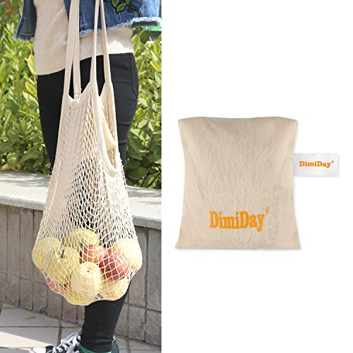 DimiDay Cotton Net Shopping Tote Ecology Market String Bag Organizer-for Grocery Shopping & Beach, Storage, Fruit, ()