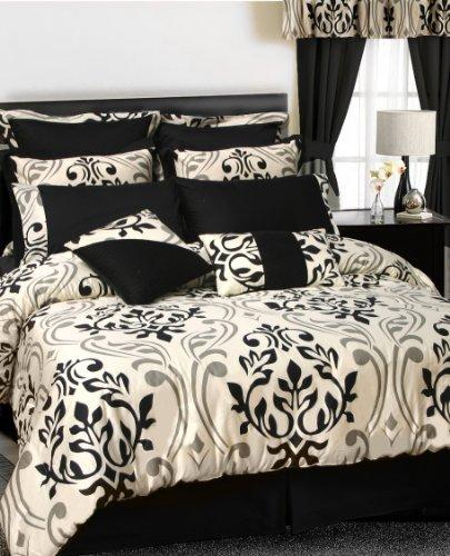 (TRIBECA LIVING Prague 12-Piece Cotton Bed in a Bag with Deep Pocket Sheet Set, Queen)