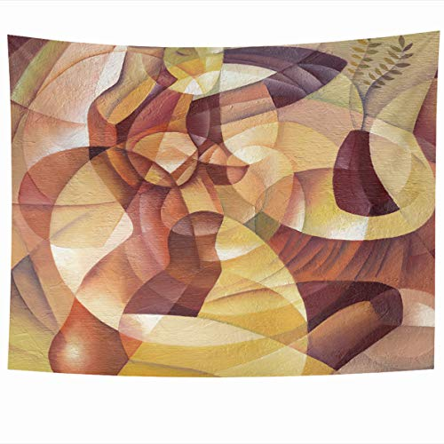 Ahawoso Tapestry 60x50 Inches Blue Painting Cubist Eugene Ivanov Orange Picasso Oil Abstract Body Wall Hanging Home Decor Tapestries for Living Room Bedroom - Painting Cubist