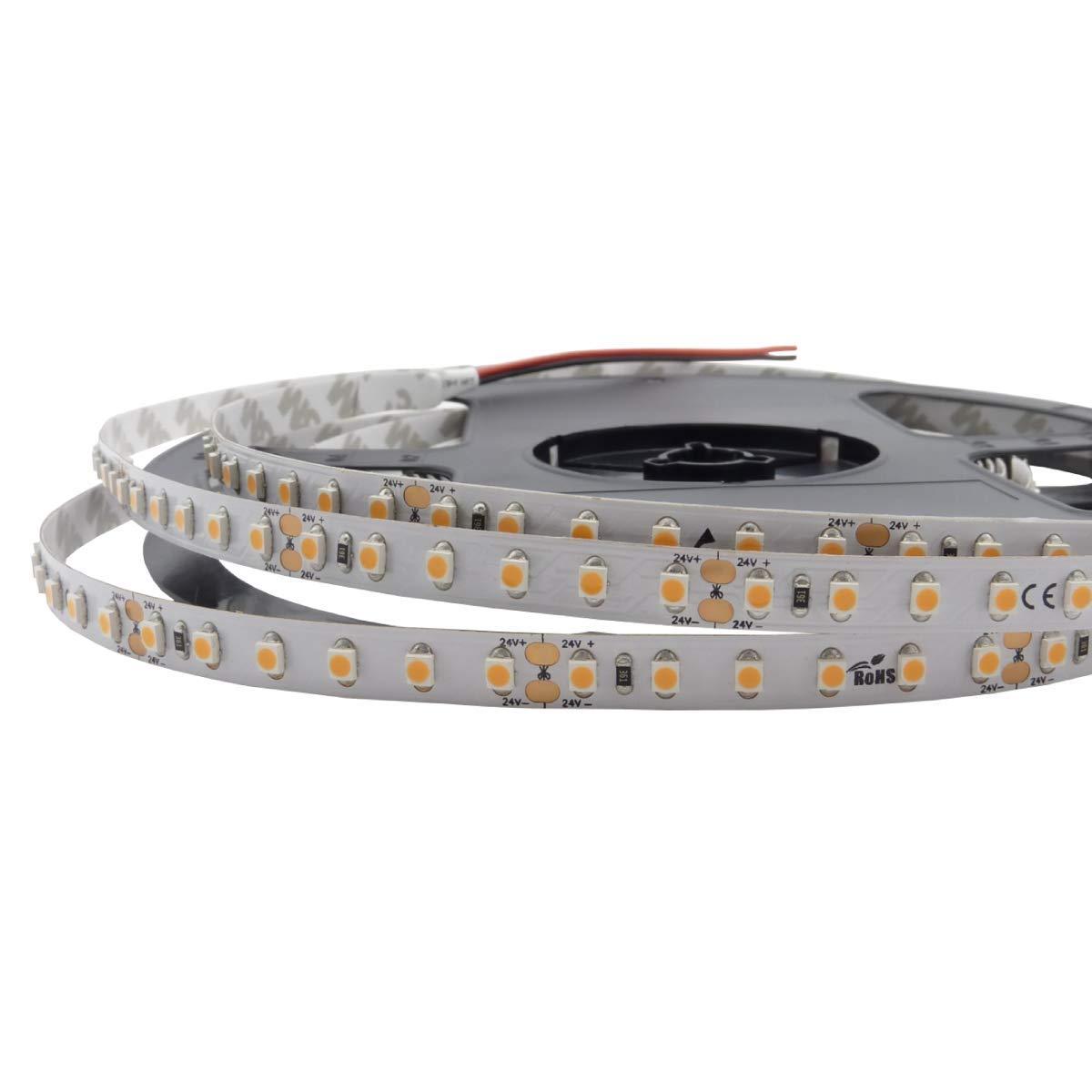 Iluminize LED-Streifen  sehr hochwertiger LED-Streifen mit 120 LEDs pro Meter, 8 mm breit, hoch selektiert, 24V, 9,6W pro Meter, 5 m auf Rolle (2700K Ra 80 IP65NANO)
