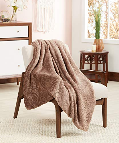 POSH HOME Luxurious 3D Ogee Soft Sherpa Reversible Throw Blanket Couch Sofa Bed (Taupe)