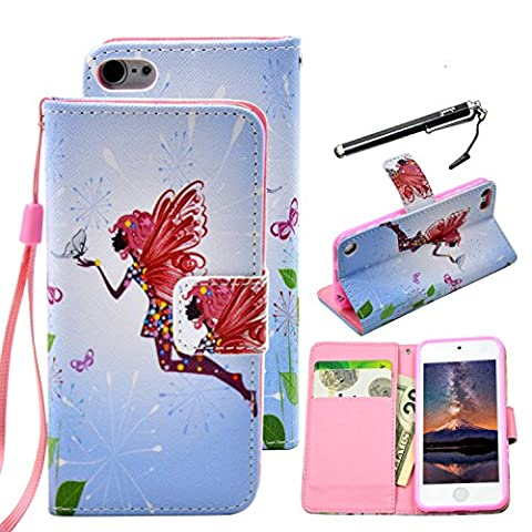 iPod Touch 6 Case, UrSpeedtekLive Fairy Pattern Premium PU Leather Flip Wristlet Wallet Case Cover W/ Wristlet Strap for iPod Touch 5th 6th Generation (Built-in Credit Card/ID Card (Ipod 6th Generation Strap)