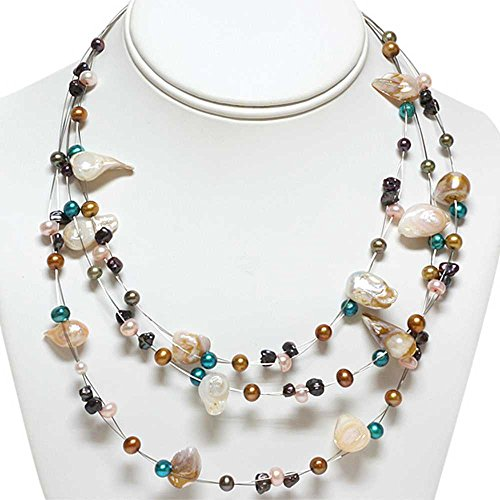 3-Row Multi-Color Cultured Freshwater Pearl Necklace 16 Inch (Cultured Multi Color Rows Pearl)