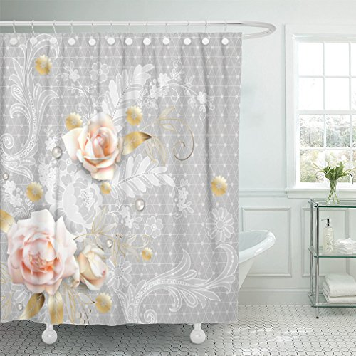 in Flower White Roses with Belgian Lace Victorian Waterproof Polyester Fabric 72 x 72 Inches Set with Hooks (Belgian Lace)