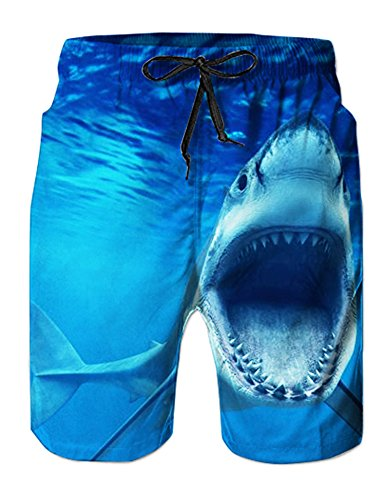 Sky Blue Colored Surf Trunks Seawater Mens Swim Trunks Sports Competitive Board Shorts Shark Pattern L