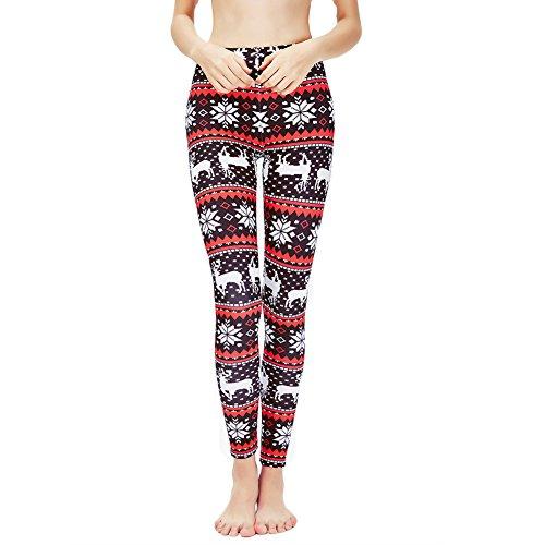 Ensasa Womens Autumn Winter Snowflake Graphic Printed Stretchy Leggings Pants (Medium, Black White Red Flake) from Ensasa
