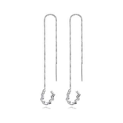 Women Sterling Silver Leaf Shape Threader Earrings Girls Party Drop Jewellery