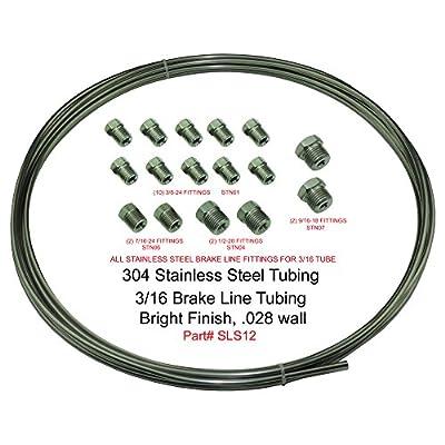 (Kit) Stainless Steel Brake Line Tubing Kit 3/16 OD Coil Roll & SAE Tube Nut Fittings: Automotive