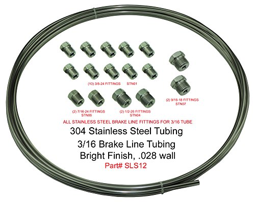 (Kit) Stainless Steel Brake Line Tubing Kit 3/16 OD Coil Roll & SAE Tube Nut ()