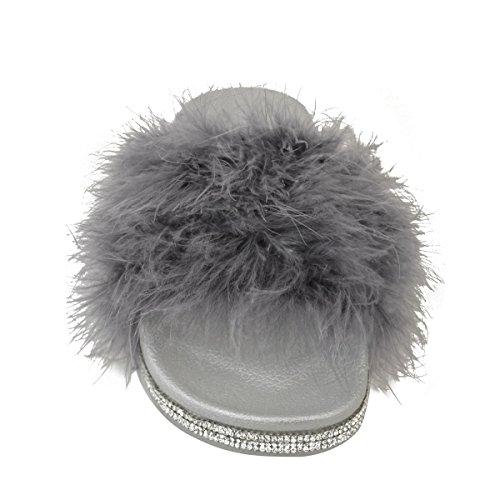 Slides Fashion Sliders Furry Marabou Thirsty Diamante Womens Size Grey Fluffy Sandals Faux zAzqXr