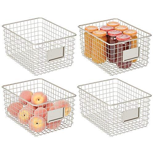 Mdesign Juego De 4 Cajas Multiusos De Metal Caja Organizadora Multifuncion Para Cocina Despensa Etc Cesta De Almacenaje De Alambre Compacta Y Universal Plateado Mate