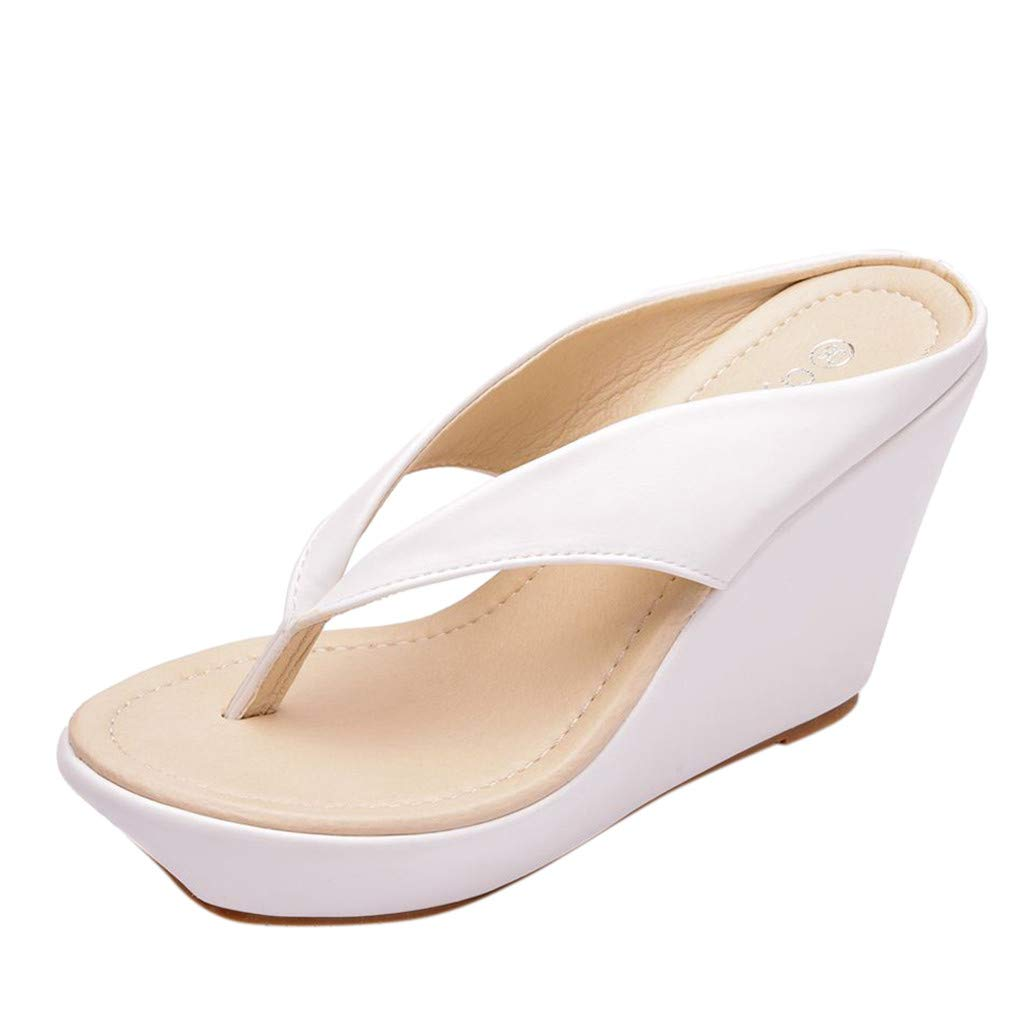New in Respctful✿ Women's Flip Flop Wedge Sandal Boho Espadrille Flip Flop for Casual Non Slip Outdoor White