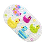 ILIKY Baby Children Shower Mat Mat Non Slip for Kids with Suction Cups for Tub Natural PVC Cute Ducks