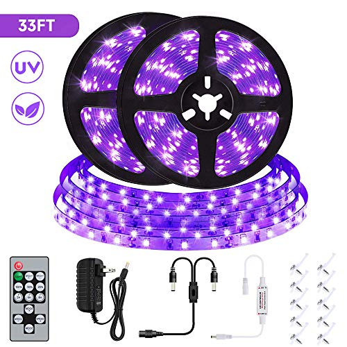 UV Black Light Strip Kit, SANCYN 33ft LED 600 Units Lamp Beads with Remote Control, 12V Flexible Blacklight Fixtures, 10m LED Ribbon for Indoor Home Bedroom Decoration Fluorescent Dance Party