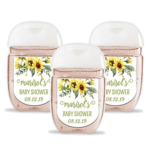 Customized Stickers Set of 30 Personalized Floral Hand Sanitizer Labels - Customized Sunflower Hand Sanitizer Stickers - Labels ONLY (HSL111)