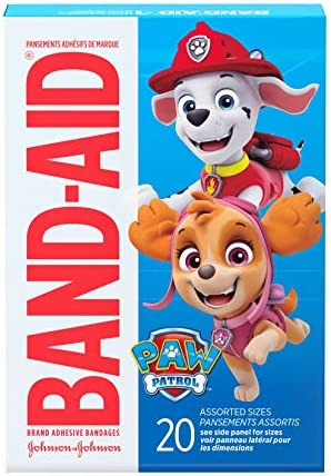 516u2hkztbL. AC - Band-Aid Brand Adhesive Bandages For Minor Cuts & Scrapes, Wound Care Featuring Nickelodeon Paw Patrol Characters For Kids And Toddlers, Assorted Sizes 20 Ct