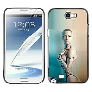 TopCaseStore / la caja del caucho duro de la cubierta de protección de la piel - Sexy Humanoid Robot Woman - Samsung Galaxy Note 2 N7100