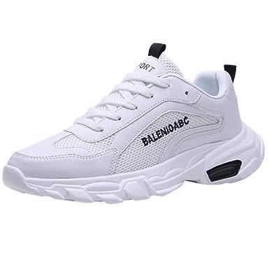 Realike - Zapatillas deportivas para hombre, para correr, para el gimnasio, para el tiempo libre, transpirables, para correr, con cordones, de malla, (EU)40, Blanco, 1: Amazon.es: Industria, empresas y ciencia