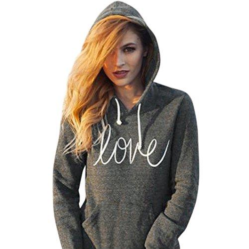 Hot Sale!Women Hoodies,Canserin Women's Autumn Winter Letters Print Pocket Hoodie Sweatshirt Sweaters (L, Dark Gray)