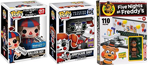 Party Room Five Nights at Freddy's Funko Pop! Exclusive Figures Balloon Boy & Jumpscare Baby SDCC Sister Location + McFarlane 110 pc Construction Set - PARTY Construction Set (Clips 110 Video)
