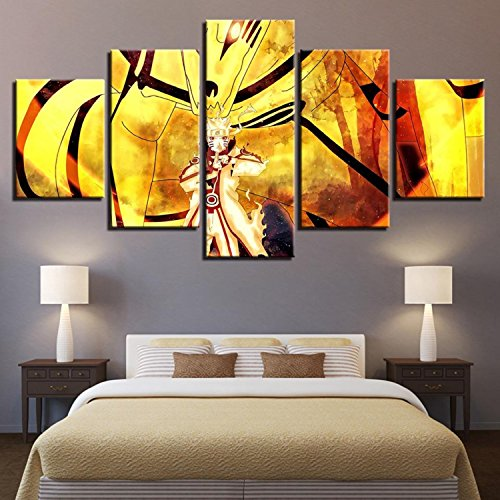 Wall Art Canvas HD Prints Poster Home Decor 5 Pieces Anime Naruto Painting Cartoon Characters Pictures For Living Room (Naruto Cartoon Character)