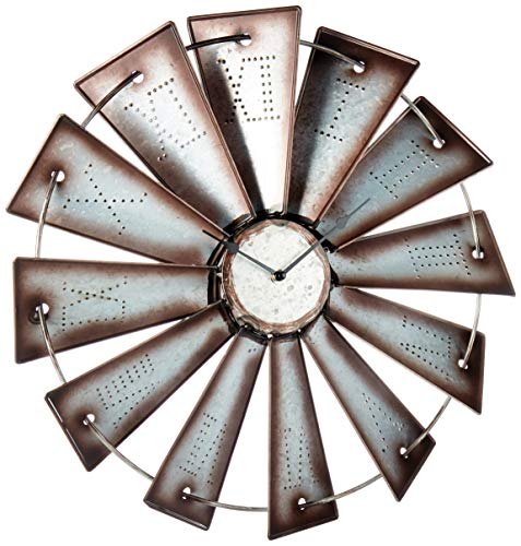 Gianna's Home Rustic Farmhouse Country Metal Windmill Wall Clock