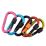 LSD (Pack of 6) Aluminum Carabiner 8cm D-Ring Locking Key Clip Hook Snap For Outdoor Sport Security Camping Climbing Hiking Keychain Screwgate New