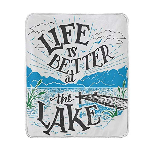 Camp Twin Lakes Halloween (CHASOEA Throw Blanket,Life is Better at The Lake Wooden Pier Plants Mountains Outdoors Sketch,Microfiber All Season Bed Couch,50