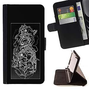 Jordan Colourful Shop - floral black white skull floral pattern For Apple Iphone 6 PLUS 5.5 - < Leather Case Absorci????n cubierta de la caja de alto impacto > -