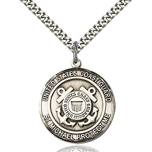 Sterling Silver COAST GUARD/ST. MICHAEL Pendant 1 x 7/8 inches with Heavy Curb Chain