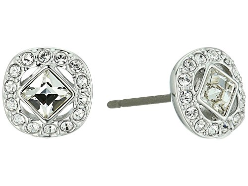 Swarovski Crystal White Angelic Square Rhodium-Plated Earrings ()
