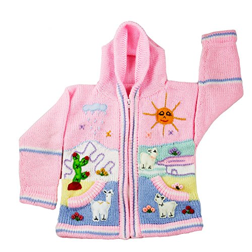 Child's Arpillera Handmade Peruvian Sweater From Peru (Pink)