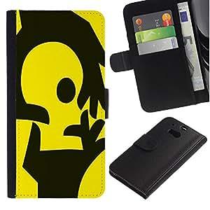Stuss Case / Funda Carcasa PU de Cuero - Manos amarillas - HTC One M8