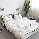 Fringe Bedding Sets White&Black - MeMoreCool 100% Cotton Embroidery Princess Room Home Textiles Duvet Cover and Flat Sheet Twin Girls Gifts