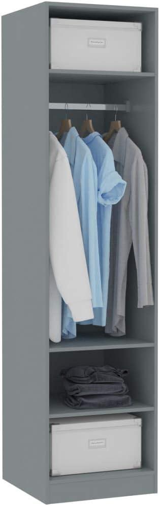 Festnight Armario de Aglomerado Armarios Dormitorio Armarios Roperos con 3 Compartimentos Peque/ños y 1 Compartimento Grande Blanco 50x50x200 cm