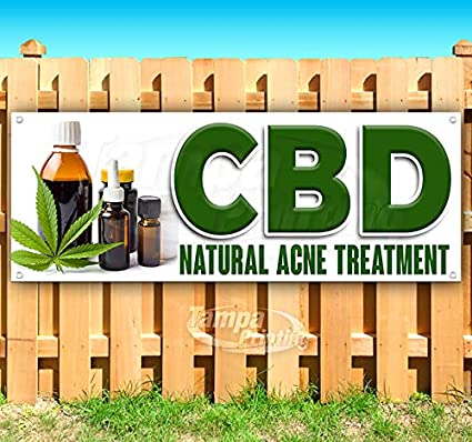 New Store CBD Natural Acne Treatment 13 oz Heavy Duty Vinyl Banner Sign with Metal Grommets Many Sizes Available Flag, Advertising