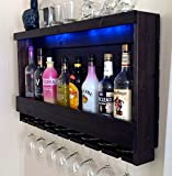 Wine Rack - RUSTIC - Liquor Cabinet - Shown in Dark Brown Espresso Finish - Shown with Blue LED Recessed Lights
