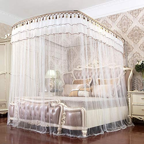 引き込み式ベッドキャノピー,ガイド レール タッセル付き暗号化糸蚊帳 ベッドキャノピー の-形 ダブルベッド用ベッドカーテン-