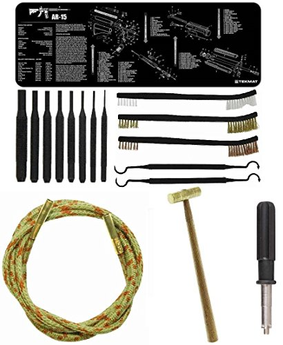 Otis Technology Ripcord Rip Cord for .22Cal .22 Cal 36-Inch 3' Feet Long Bore Barrel Cleaner + Cleaning Gun Mat Ruger 10/22 10-22 10 22 Rifle + Carbon Scraper Punch Hammer Brushes & Picks Tool Set Kit